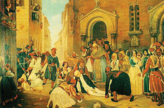 Πίνακας του Διονύσιου Τσόκου που απεικονίζει τη δολοφονία του πρώτου Κυβερνήτη του νεοσύστατου ελληνικού κράτους, τον Σεπτέμβριο του 1831, στο Ναύπλιο